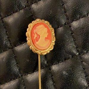 Vintage Gold Victorian Revival Cameo Stick Brooch